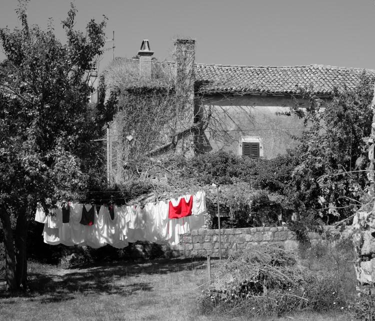 Wäsche Leine rot