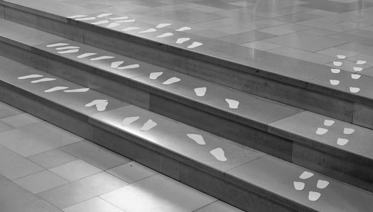 Fußspuren Treppe